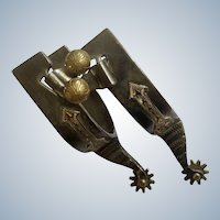 Silver-Tone Spurs With Brass Rowels and Golden Arrow Design