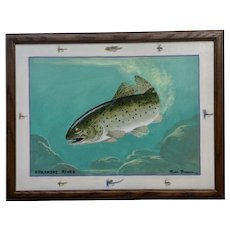 Russ Brown Fly Fishing in Arkansas River Acrylic Painting Signed By Well Known Lake City, Colorado Artist