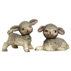 Rare Lefton Gray Cute Lambs with Big Eyes and Pink on Faces #3102 Porcelain Animal Figurines