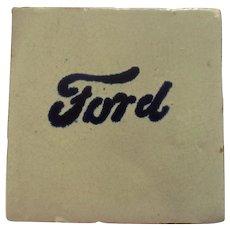 Vintage Unusual Ford Emblem Tile Cream and Cobalt Blue Oddball Automobilia