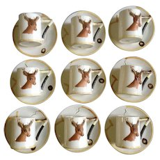 Enesco Rare Buck Mug Woodland Deer Bust Coffee Cup and Saucer - Set of 9 #E-2155 Japan