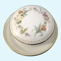 Wedgwood Mirabelle Covered Sugar Cube Dish with Coaster Underplate Made In England
