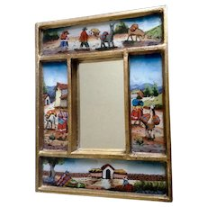 Reverse Glass Painting Alpaca Lamas and Figural People Small Wall Mirror