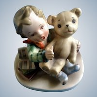 Mid-Century Napco Boy Talking to Teddy Bear Figurine AH3967C Made in Japan