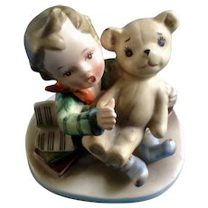 Mid-Century Napco Boy Talking to Teddy Bear Figurine AH3967C Made in Japan