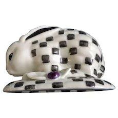 Williamsburg Black and White Checkered Bunny Rabbit Ceramic Figurine