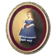 Josephine Kind, Painting, Folk Art Girl With The Red Ball, Vintage Oil on Board, Signed by Artist