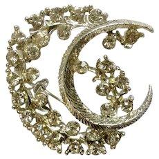 Vintage Silver-Tone and Diamond Rhinestone Brooch Pin Costume Jewelry