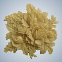 Art Deco Gorgeous Celluloid Rose Flower Brooch Pin Japan