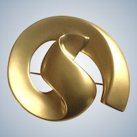 Gold-Tone Flowing Swirl Design Brooch Pin