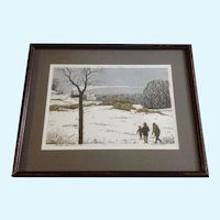 Tom Bartek Serigraph December Snow (Three Figures) Snowy Landscape Limited Edition Print