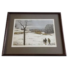 Tom Bartek Serigraph December Snow (Three Figures) Snowy Landscape Limited Edition Print Numbered and Signed by Artist 14/220