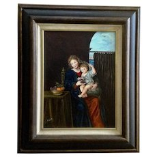 B Smith, Interior Scene with Figural Woman and Child Eating Fruit Oil Painting Signed by Artist