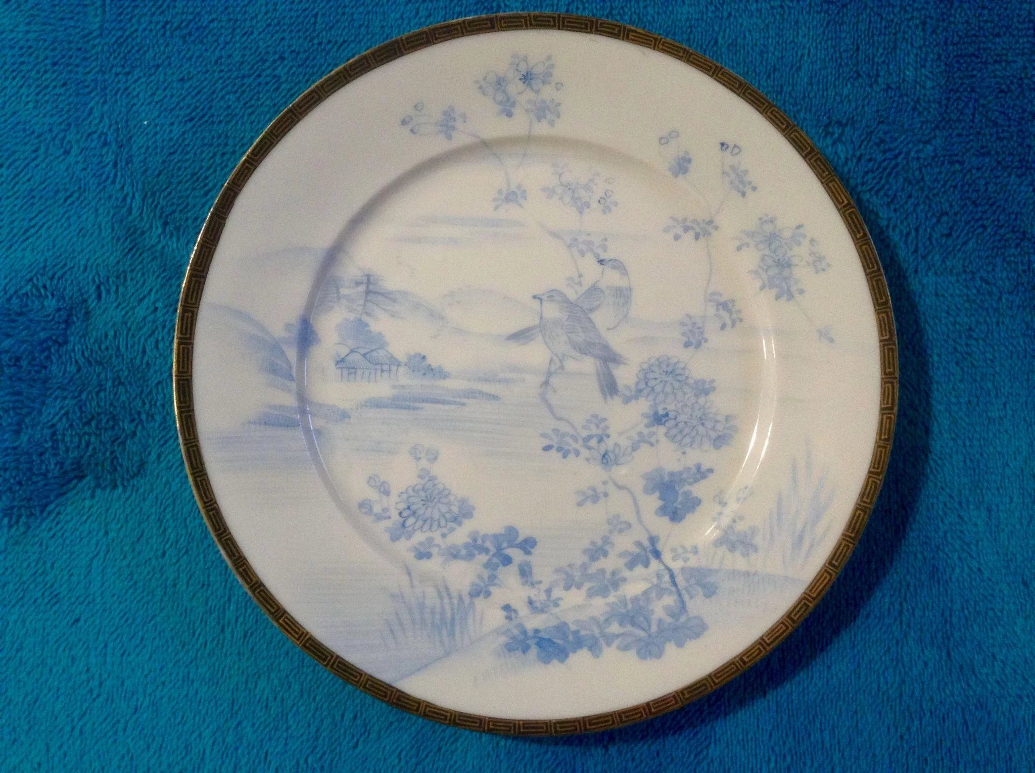 Eggshell Porcelain Plates Beautiful Vintage Asian Signed