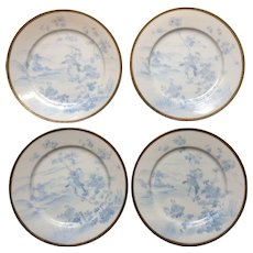 Eggshell Porcelain Plates Beautiful Vintage Asian Signed by Artist, Hand Painted, Hand Thrown Blue Birds Gold trim