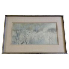 Albert Lagunero, Kamakura Landscape Watercolor Painting Signed by Artist 1960's