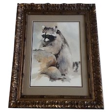 Susan (Zabinski) Blackwood, Raccoon Bandit on the Rocks Watercolor Painting Signed by Listed Artist
