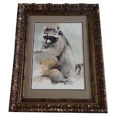 Susan (Zabinski) Blackwood, Raccoon Bandit on the Rocks Watercolor Painting Signed by Listed Artist
