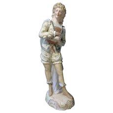 "15-7/8"" Large Bisque Gold Gild Victorian Style Man Figurine #31"