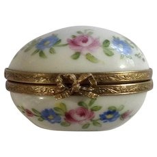 Vintage Limoges Hand Painted Floral Egg Porcelain Trinket Box France Signed by Artist Deion Maria