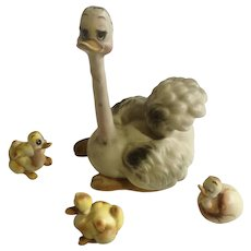 Vintage Josef Originals Proud Mama Ostrich and Three Baby Bird Family Porcelain Figurines