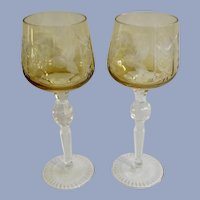 Bohemian Long Stem Wine Glasses Crystal Glass Yellow Amber Cut to Clear