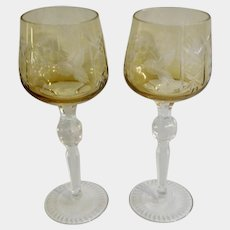 Bohemian Cut to Clear Crystal Glass Yellow Amber Grape & Leaf with Star Pattern Wine Long Stem Glasses