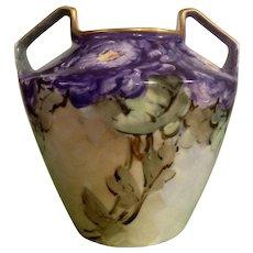 Royal Rudolstadt Vase Antique Pottery Beautiful Hand Painted Purple Floral Motif Prussia Two Handle Vase Number 820-2