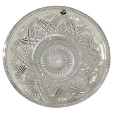Bohemian Lead Crystal over 24% PbO Glass Fruit Bowl with Brunswick star Bottom Czech Republic