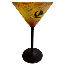 Rare Crystal Cocktail Glass Painted in the Style of  Miró Art Glass Hand Painted Gorgeous Design