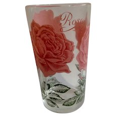 Mid-Century Boscul Peanut Butter Glass Tumbler Pink Rose Flowers