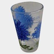 Boscul Peanut Butter Glass Tumbler Blue Asters Flowers