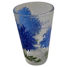 Boscul Peanut Butter Glass Tumbler Blue Asters Flowers