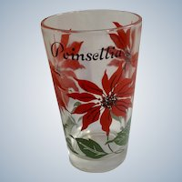 Mid-century Boscul Peanut Butter Glass Tumbler Red Poinsettia Flowers