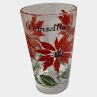Boscul Peanut Butter Glass Tumbler Red Poinsettia Flowers
