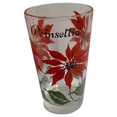Boscul Peanut Butter Glass Tumbler Red Poinsettia Flowers