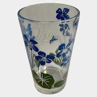 Boscul Peanut Butter Glass Tumbler Blue Violet Flowers
