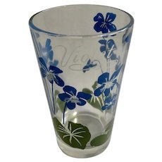 Boscul Peanut Butter Glass Tumbler Blue Violet Flowers