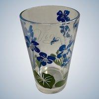 Mid-Century Boscul Peanut Butter Glass Tumbler Blue Violet Flowers