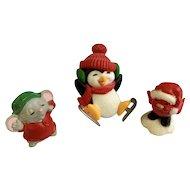 1883-1984 Hallmark Cards Christmas Penguin Skating, Sleepy Mouse and Red Bird Plastic Figurines Group