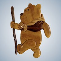 Vintage Winnie The Pooh Bear Wall Hanging Hand Made Wood Plaque Folk Art Marquetry