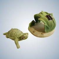 Turtle Franklin Mint Woodland Surprises Series Porcelain 1984 Jacqueline B Smith Wild Animal 2 Piece Set