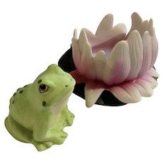 Frog Franklin Mint Woodland Surprises Series Porcelain 1984 Jacqueline B Smith Wild Animal 2 Piece Set