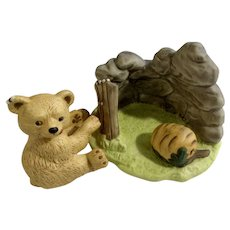 Bear Franklin Mint Woodland Surprises Series Porcelain 1984 Jacqueline B Smith Wild Animal 2 Piece Set