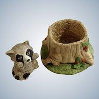 Raccoon Franklin Mint Woodland Surprises Series Porcelain 1984 Jacqueline B Smith Wild Animal 2 Piece Set