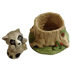 Raccoon Franklin Mint Woodland Surprises Series Porcelain 1984 Jacqueline B Smith Wild Animal 2 Piece Set