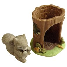 Gray Squirrel Franklin Mint Woodland Surprises Series Porcelain 1984 Jacqueline B Smith Wild Animal 2 Piece Set