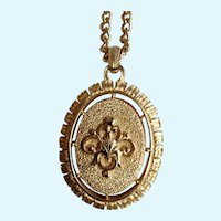 Faux Cameo Pendant on Gold-Tone Chain Necklace Costume Jewelry