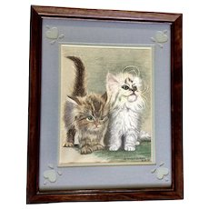 Tonia M Brown, Adorable Brown and White Kitty Cat Kittens Conte Pencil Drawing Signed by Artist 1981