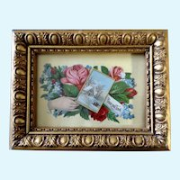Victorian 1875-1880 Gorgeous Floral Motif Hand Peace & Love Die-Cut Embossed Paper Scrap Greeting